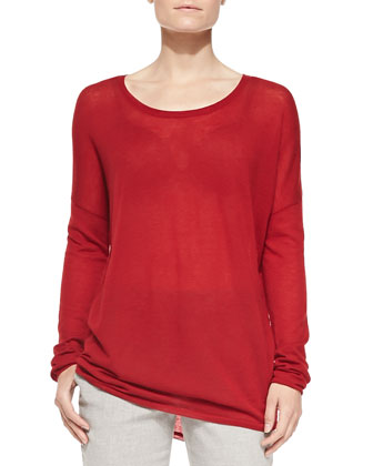 Crewneck Long-Sleeve Sweater, Claret