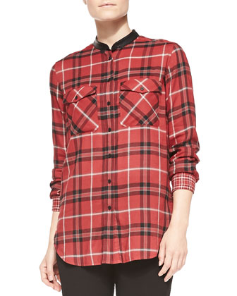 Leather-Trim Plaid Shirt, Claret