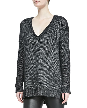 Metallic V-Neck Knit Sweater