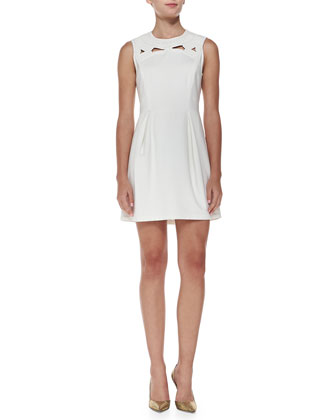 Boutis Sleeveless Embroidered Yoke Minidress