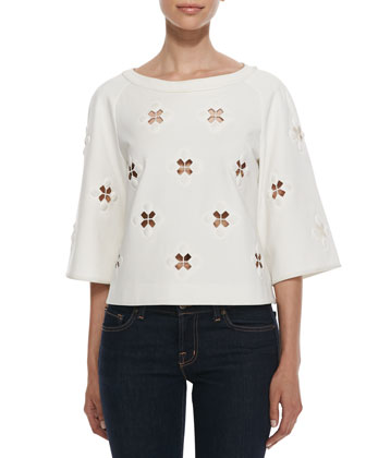 3/4-Sleeve Boutis Embroidery Cutout Top