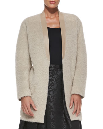 Long Mohair Cardigan with Leather Collar & Foret Pleated Jacquard Skirt