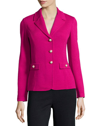 Pearly-Button Knit Blazer, Cosmo