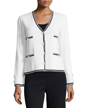 Fringe-Trimmed V-Neck Jacket, Bright White