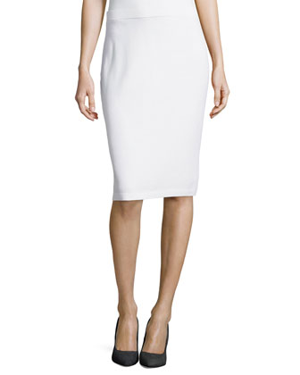 Pull-On Knit Pencil Skirt, Bright White