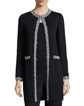 Dotted-Trimmed Long Open Jacket, Onyx