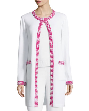 Dotted-Trimmed Long Open Jacket, Bright White
