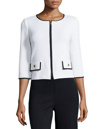 Three-Quarter-Sleeve Zip-Front Jacket, Bright White