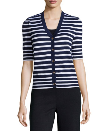 Striped Short-Sleeve Cardigan, Midnight