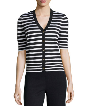 Short-Sleeve Striped Sweater, Onyx/Bright White