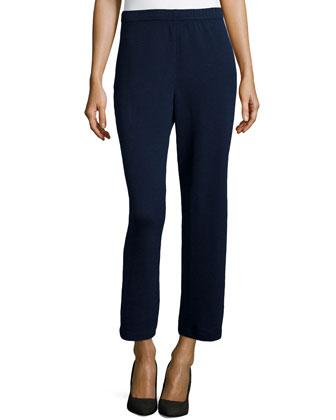 Santana Knit Wide-Leg Capri Pants, Midnight