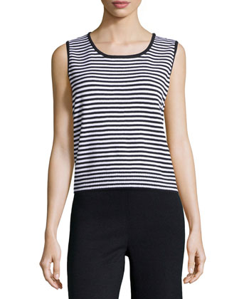 Sleeveless Striped Sweater, Onyx/White