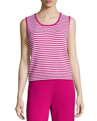 Sleeveless Striped Sweater, Cosmo/Bright White