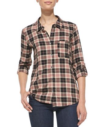 Annabela Plaid Button-Front Top