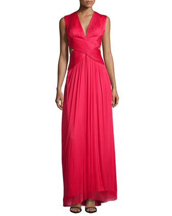 Sylver Crisscross Cutout Gown, Lipstick Red