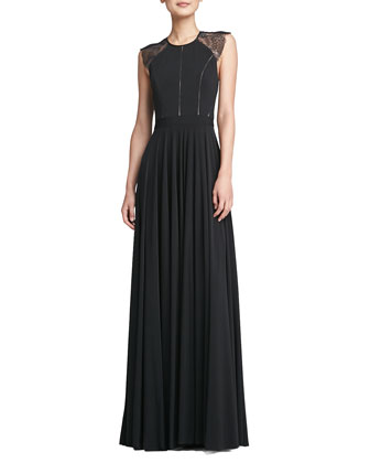 Simone Sleeveless Lace-Back Gown