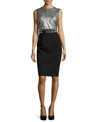 Serena Cutout-Leather/Ponte Combo Dress, Lunar Gray/Black