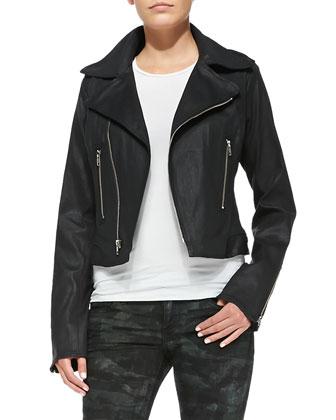 Zip-Front Moto Jacket & Casey Tiger/Camo-Print Skinny Jeans