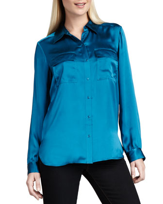 Charmeuse Button-Front Blouse, Women's