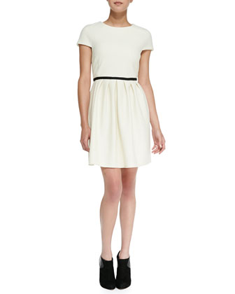 Diamond-Knit Pleated Fit-And-Flare Dress, Cream