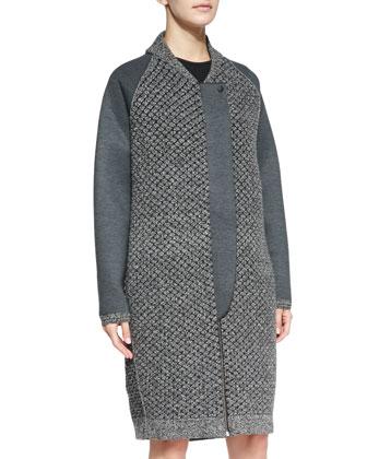 Mixed-Knit Front-Zip Overcoat & Flare-Skirt Sleeveless Scuba Dress