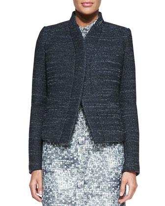 Stand-Collar Tweed Jacket