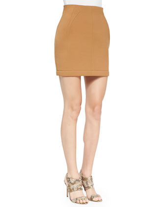 Tuck-Stitch Knit Miniskirt