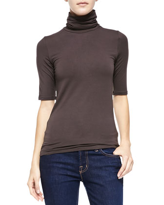 Soft Touch Half-Sleeve Turtleneck