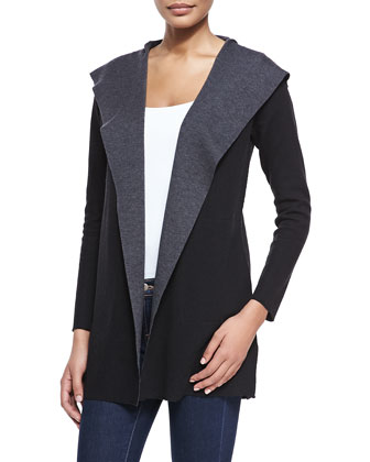 Double-Face Cascading Merino Hooded Cardigan
