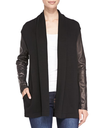 Wool Cardigan w/ Leather Sleeves