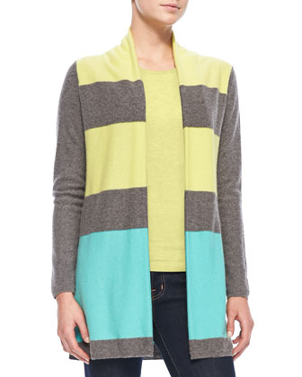 Colorblock Cashmere Cardigan & Cami Set