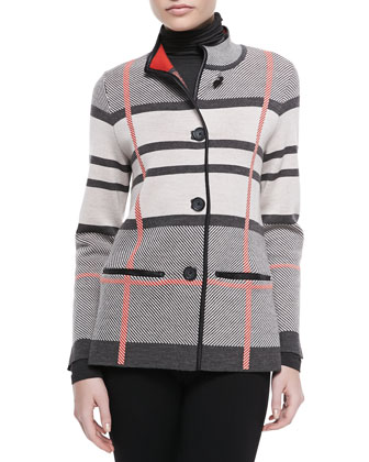 Cashmere Plaid Jacket with Leather Trim