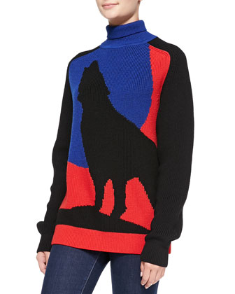 Blue Moon Wolf Turtleneck Sweater