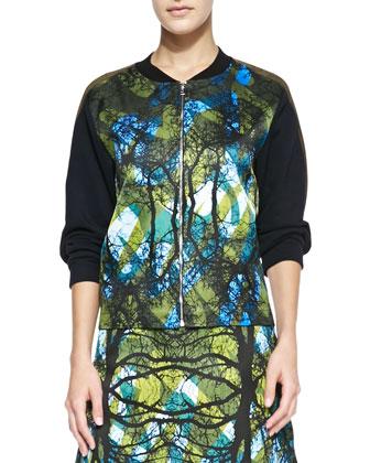 Greenwoods Solid-Sleeve Printed Sweatshirt