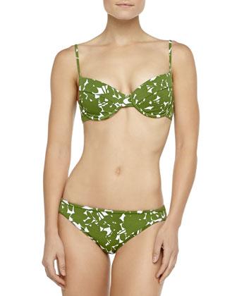 Floral-Print U-Wire Bikini, Grass