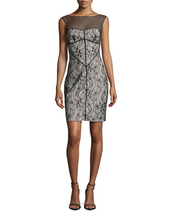 Sleeveless Mesh-Inset Lace Dress, Black