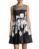 Iris-Print Full-Skirt Dress