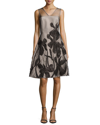Floral-Embroidered Fit-and-Flare Dress, Shell/Black