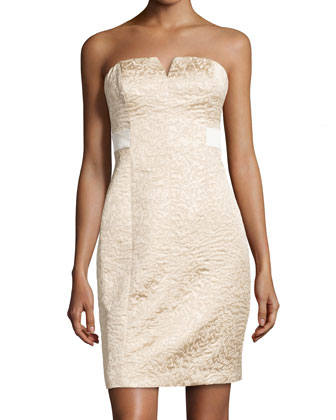 Strapless Jacquard Dress, Gold