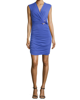 Ruched Surplice-Neck Dress, Wisteria
