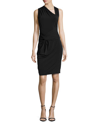 Ruched Asymmetric-Neck Jersey Dress, Black