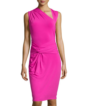 Ruched Asymmetric-Neck Jersey Dress, Petunia