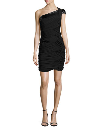 One-Shoulder Sequined-Strap Dress, Black