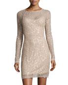 Sequin Lace Sheath Dress, Gold