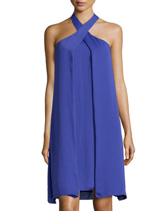 Asymmetric-Drape Halter Dress, Wisteria
