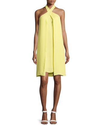 Crossover Slit-Draped Halter Dress, Daffodil