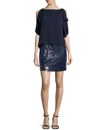 Slit-Sleeve Layered Sequin Dress, Navy