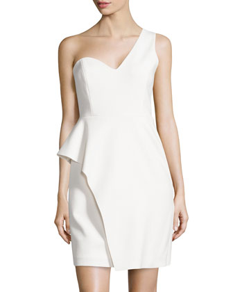 One-Shoulder Peplum Crepe Dress, Linen White