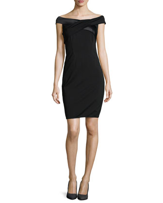 Off-The-Shoulder Satin-Trimmed Ponte Dress, Black