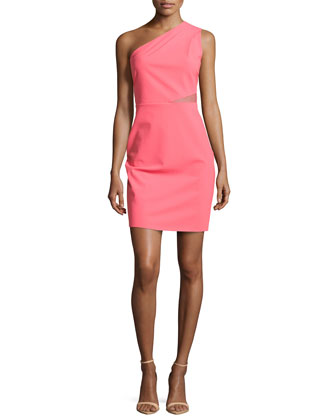 Mesh-Inset One-Shoulder Dress, Coral